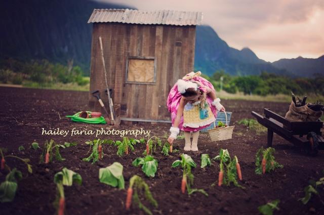 Beatrix Potter, Peter Rabbit, photo shoot in Waimanalo, Hawaii
